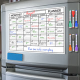 "Magnetic Dry Erase Monthly Planner 11""x17"" Markers and Eraser Included"