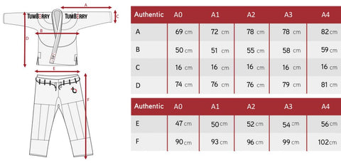 Tumberry BJJ GI Sizes