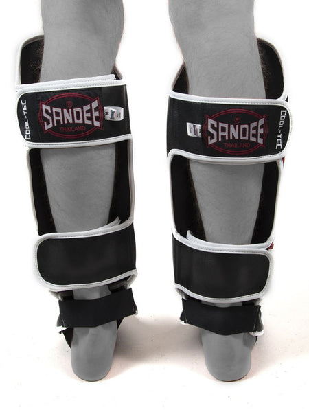 Sandee Cool Tec Black White & Red Leather Boot Shin guards