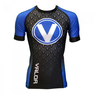 Valor IBJJF Short Sleeve Rank Blue Rash Guard
