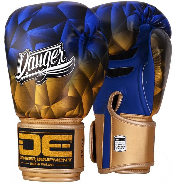 Image of Blue and Gold Crystal Danger Boxing Gloves