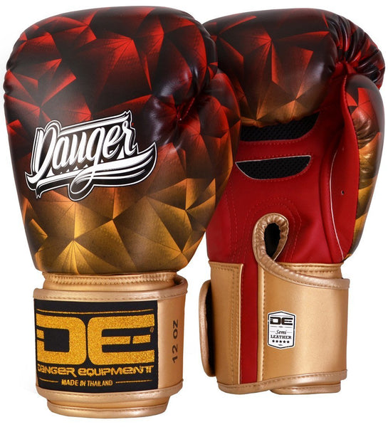 Red and Gold Crystal Danger Boxing Gloves