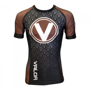 Valor IBJJF Short Sleeve Rank Brown Rash Guard