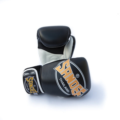 Sandee Cool Tec Black Leather Boxing Gloves