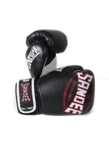 Sandee Cool Tec Black Red Leather Boxing Gloves