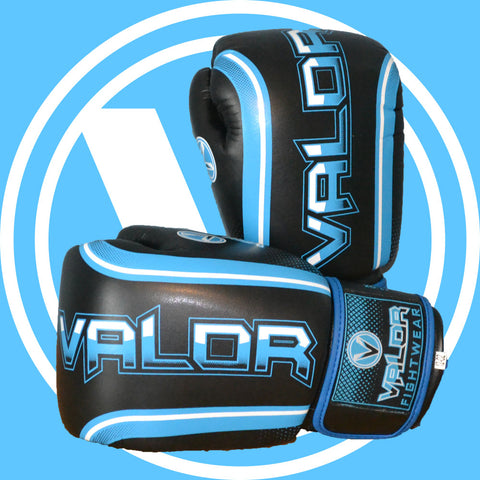 Valor Fade Black and Blue Boxing and Muay Thai Gloves