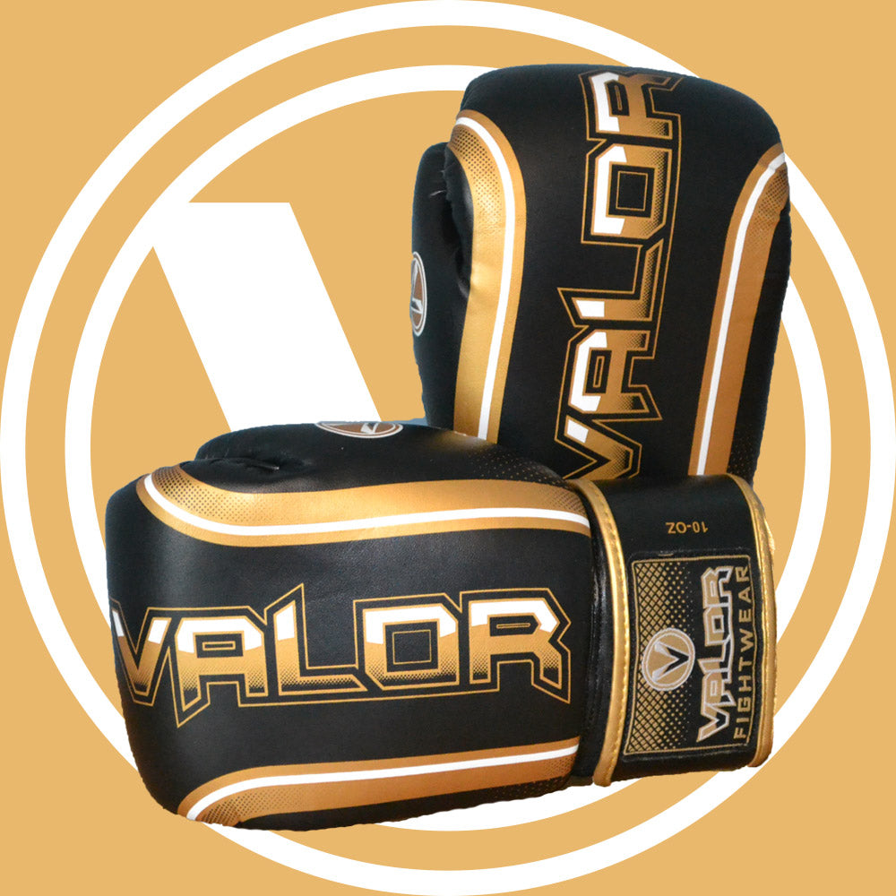 Valor Fade Black and Gold Boxing and Muay Thai Gloves