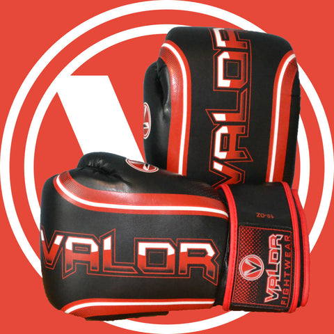 Valor Fade Black and Red Boxing and Muay Thai Gloves