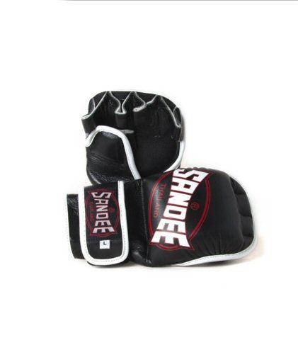 Image of Sandee Black White Leather MMA Sparring Gloves