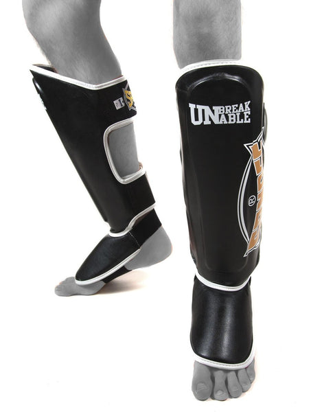 Sandee Cool Tec Black Gold & White Leather Boot Shin guards