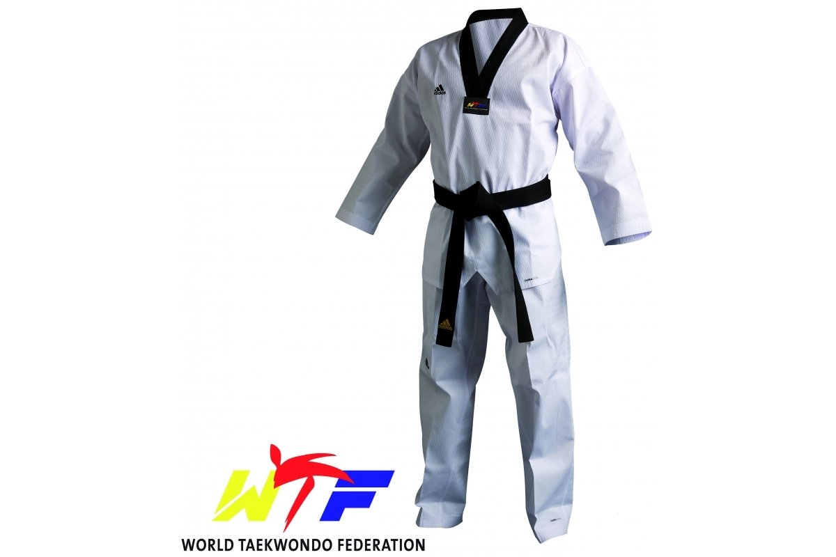 Image of Adidas Junior WTF Champion III Dobok Black Collar