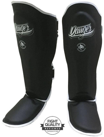 Danger Black with White Piping Super Max Sparring Shin Pads / Guards