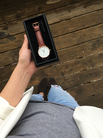 charleston rose gold/tan watch