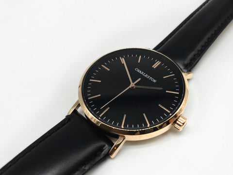 rose gold/black - charleston watches