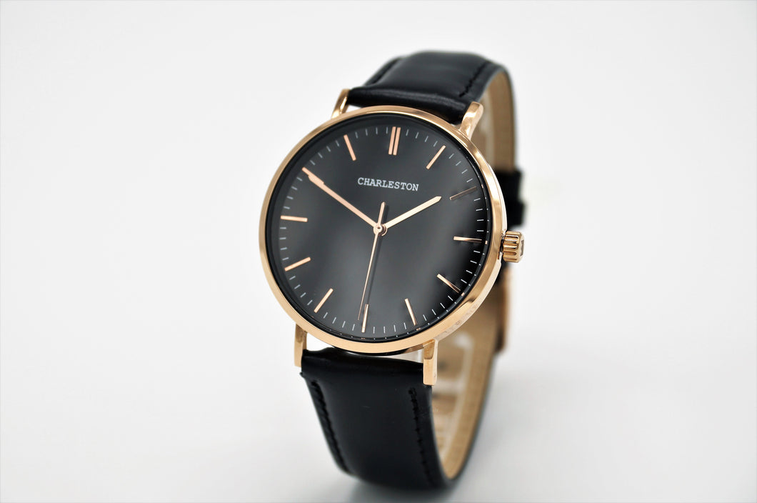 New! Charleston Rose Gold/Black Watch Series - Charleston watches, Watch