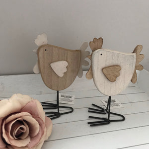 Pair of Wooden Hens