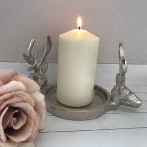 Silver Stags head candle holder
