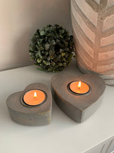 Grey wooden Heart T-light holders x2