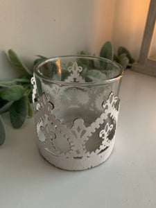Pair of white glass candle holders