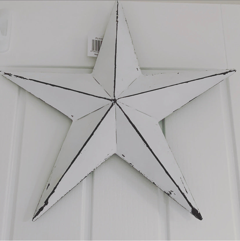 Distressed White Metal Barn Star