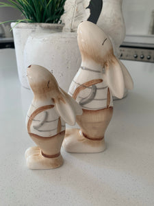 Pair of Ceramic Dungaree Bunny's