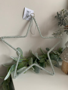 Sparkly Bead Hanging Star 25cm
