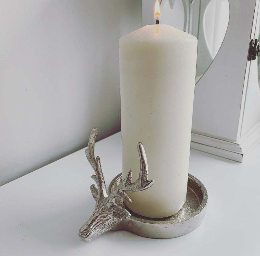 Single Stags head candle holder