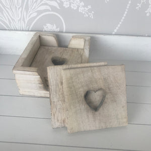 Set of 6 Rustic Wooden Heart Coasters