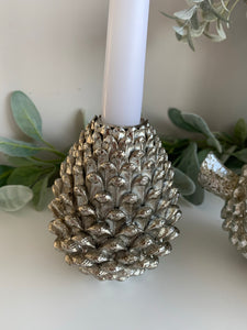 Silver Pinecone candle holder (2 Sizes)