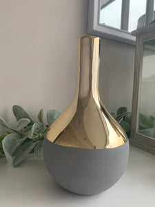 Gold & Grey Ceramic Vase