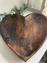 Mango wood heart shaped fruit bowl