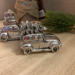 Silver Christmas Car Ornaments (PAIR)