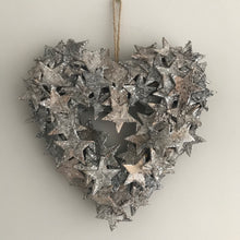 Birch heart wreath grey heart wreath christmas heart wreath glittered wreath