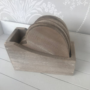 Set of 6 Rustic Wooden Heart Shaped Coasters