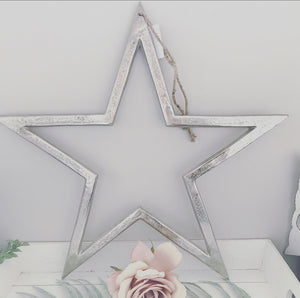 Large silver nickel hanging stars (4 sizes)
