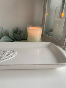White Heart shaped Tray
