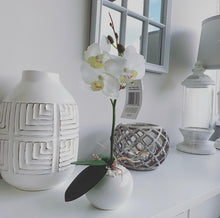 Artificial White Orchid in ceramic pot