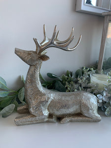 Large Silver Lying Deer Figure