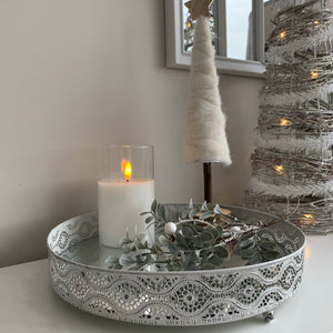 White Mirrored Centrepiece Candle Tray (3 Sizes)