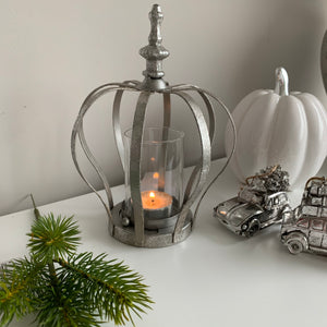 Rustic Silver crown candle holder