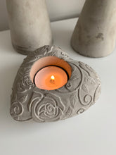 Grey Heart Candle Holder