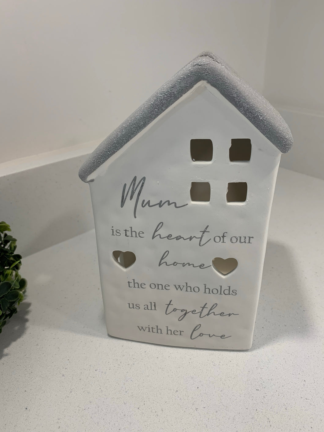 """Mum"" Ceramic House Lantern"