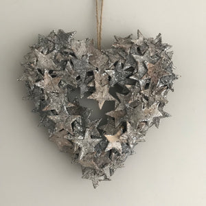 Birch Glitter heart shaped Wreath