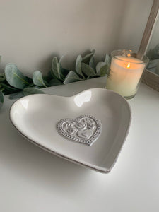 White Heart shaped dish