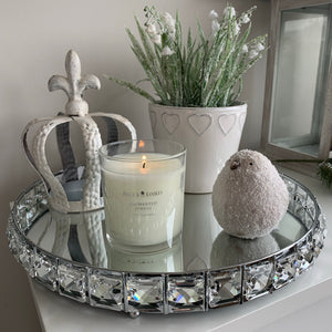 Mirrored Centrepiece Candle Tray with Gems (2 Sizes)