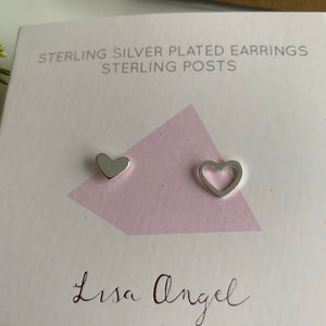 Mismatched Heart Stud Earrings