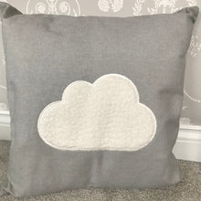 Grey Filled cushion with fluffy cloud detail Grey cushion Grey bedroom cushion Childrens bedroom cushion