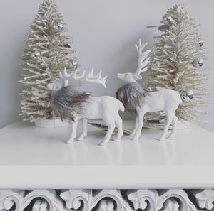 White Glitter Reindeer with Faux Fur Trim (Pair)