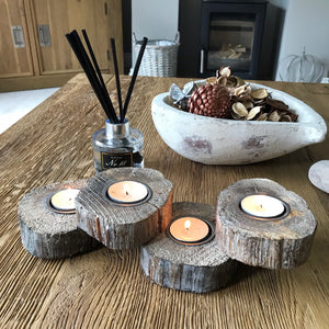 Rustic Wooden Disc Candle Holder