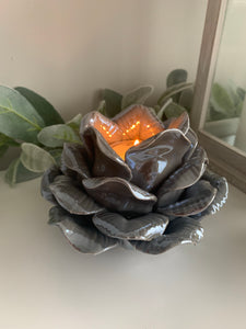 Pearlescent Grey Rose Tealight Holder